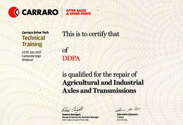 Certification DDPA CARRARO